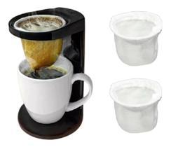 Passador de cafe individual my coffee com 2 coador extra preto fechado ou