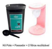 Passador De Café Individual Pote Hermético C/2 Filtros