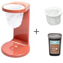 Passador de Cafe My Coffee Terracota - OU + Pote Hermetico 1 Litro Chumbo - OU + Refil de Coador 2 Unidades Tecido - OU