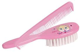 Pente e escova infantil linha chérie - rosa