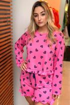 Pijama Cropped manga longa e short Sonhar Sleepwear - REF 542 - PINK