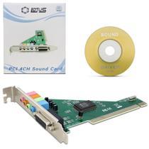 Placa de Som PCI para Áudio 4 Canais Reposição Alta Qualidade com CD