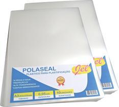 Plástico para Plastificação Polaseal Tamanho A3 125 Mícron Pacote com 10 Plásticos