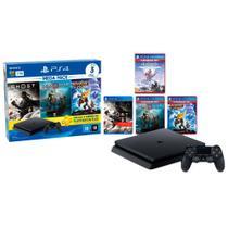 PlayStation 4 Slim 1TB Mega Pack 18 PS Plus 3 Meses+God Of War+Ratchet and Clank+Ghost of Tsushima+Horizon Zero Dawn