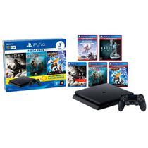 PlayStation 4 Slim 1TB Mega Pack 18 PS Plus 3 Meses+God Of War+Ratchet and Clank+Ghost of Tsushima+Until Dawn+Horizon Zero Dawn