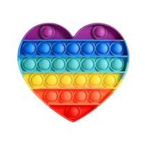 Pop It Fidget Toy Anti-Stress Coração Arco-Iris Colorido