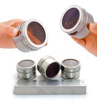 Porta Condimento Temperos Açucareiro Saleiro Organizador Tempero Acrílico Cozinha 3 Potes Magnéticos