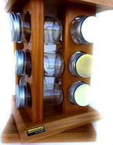 Porta condimentos e temperos com base giratório e porta chás com 12 potes de vidro
