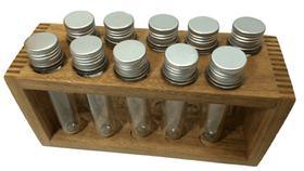 Porta condimentos e temperos de madeira com 10 tubos pet