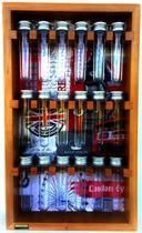 Porta condimentos e temperos de madeira maciça com 18 tubos pet