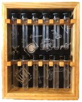 Porta condimentos ou temperos de madeira maciça com 12 tubos pet