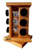 Porta temperos com base giratória com 12 tubos de vidro