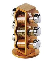 Porta Temperos Condimentos Giratório Em Bambu Welf Com 06 Potes