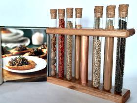 Porta temperos de madeira 12 tubos de vidro com tubo de cobre