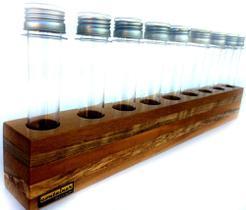 Porta temperos de madeira mescla com 9 tubos pet