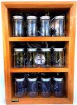 Porta temperos e condimentos em madeira maciça com 12 potes de vidro