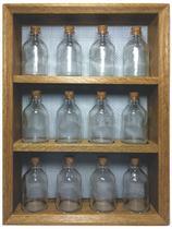 Porta temperos em madeira com 12 potes de vidro