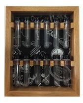 Porta temperos em madeira de parede com 12 tubos pet