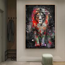 Quadro decorativo 70x55,99 Leão colorido graffiti