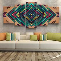 Quadro Decorativo Abstrato Geométrico Ilusão Óptica Quarto Sala Conjunto 5 Parede Moderno Escritório