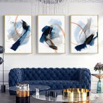 Quadro decorativo Abstrato moderno azul respingo tinta desenho escovado