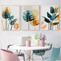 Quadro decorativo Abstrato nórdico colorido planta folhas pintura