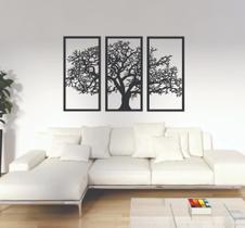Quadro Decorativo Árvore Da Vida 3 Peças Madeira Preta King