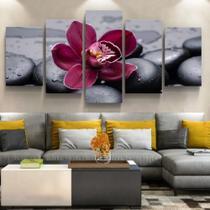 Quadro Decorativo Botânico Flor Orquídea Pedra Quente Sala Conjunto 5 Sala Quarto Escritório Parede