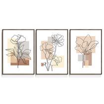 Quadro Decorativo Floral Abstrato Terracota Para Sala Quarto Bege Marrom Line Art Flores Florido