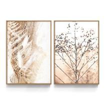 Quadro Decorativo Folhagem Marrom Botânico Quarto Sala Folhas Plantas Bege Branco Recepção c/ Vidro