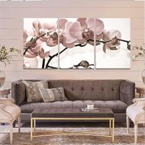 Quadro Decorativo Kit 120x60 Orquídea Rosa Flor Parede Sala