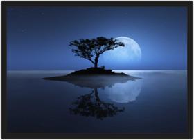 Quadro Decorativo Lua Noite Lago Árvores Paisagem Natureza Decorações Com Moldura