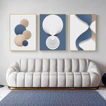 Quadro decorativo Moderno abstrato poster azul ouro branco geométrico