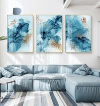 Quadro decorativo Moderno bater abstrato tinta azul ouro
