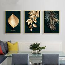 Quadro Decorativo Mosaico 3 Peças Flores Douradas Tela.