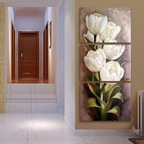 Quadro Decorativo Mosaico 3 Peças Tulipas Brancas..