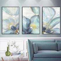 Quadro decorativo nórdico azul e branco flor cartaz abstrato flor dourada