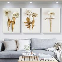 Quadro decorativo Nórdico folhas de plantas douradas e flores arte