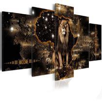 quadro decorativo para sala e quarto  leão universo sala 5 peças