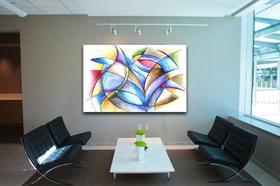 Quadro Decorativo Sala Pintura Abstrato Ondular P170