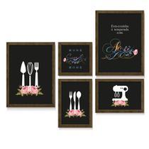 Quadro Decorativo Silhueta Utensílios de Cozinha Frase Sweet Home Cozinha Sala Jantar