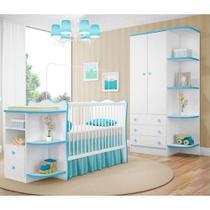 Quarto Para Bebê Doce Sonho - Berço Cantoneira E Guarda Roupa - Branco/azul