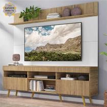 """Rack com Painel e Suporte TV 65"""" Madri Multimóveis Rustic/Branco com Prateleira e Pés Retrô Natural"""