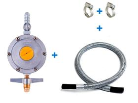 Regulador gás 13Kg Aliança 2kg, mangueira flexivel AÇO 2mt