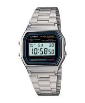 Relógio casio vintage a158wa-1df - prata/preto