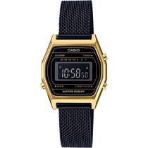 Relógio casio vintage la690wemb-1bdf - preto/dourado