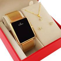 Relogio Digital Feminino Champion Dourado Quadrado + Kit Colar e Brincos