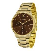 Relógio LINCE Feminino LMGJ087L N2KX Dourado Fundo Marrom - Calendário e Dia da Semana