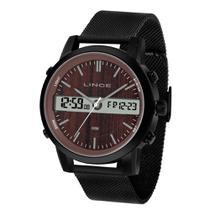Relógio LINCE MAN4489S N1PX Preto - Mostrador Marrom (Tipo Amadeirado)