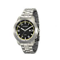 Relógio MONDAINE 78671G0MVNA1 Prata mostrador preto com detalhe amarelo
